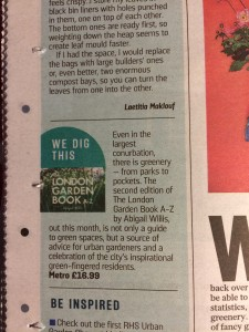 Review of The London Garden Book A-Z, Sunday Times November 2016