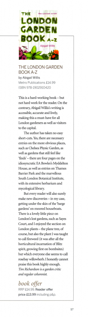 The London Garden Book A-Z, review by Tim Richardson, Gardens Illustrated, October 2012