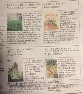 Review of the London Garden Book A-Z, Daily Telegraph