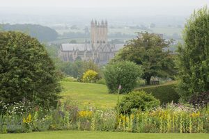 Stoberry House garden with view of Wells Cathedral